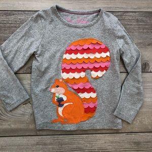 MINI BODEN 4-5 year gray squirrel appliqué shirt